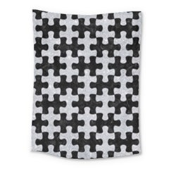 Puzzle1 Black Marble & Silver Glitter Medium Tapestry by trendistuff