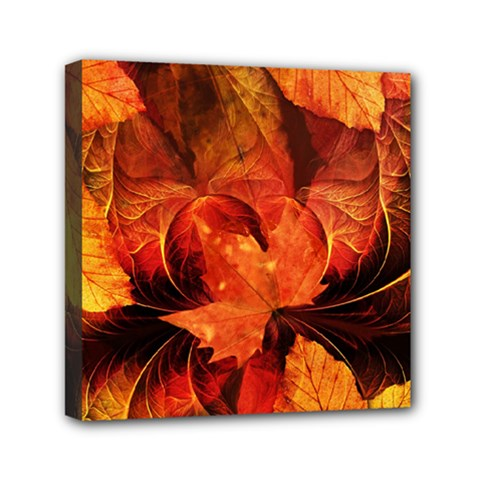 Ablaze With Beautiful Fractal Fall Colors Mini Canvas 6  X 6  by jayaprime