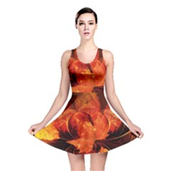 Ablaze With Beautiful Fractal Fall Colors Reversible Skater Dress by jayaprime