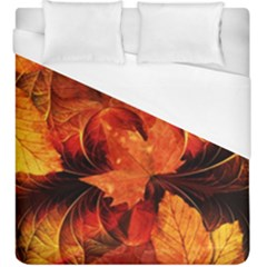 Ablaze With Beautiful Fractal Fall Colors Duvet Cover (king Size) by jayaprime