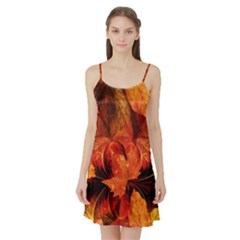 Ablaze With Beautiful Fractal Fall Colors Satin Night Slip by jayaprime