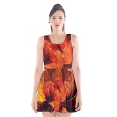 Ablaze With Beautiful Fractal Fall Colors Scoop Neck Skater Dress by jayaprime