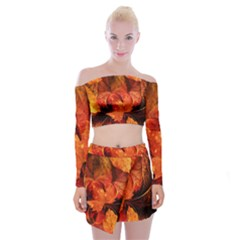 Ablaze With Beautiful Fractal Fall Colors Off Shoulder Top With Mini Skirt Set