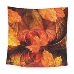 Ablaze With Beautiful Fractal Fall Colors Square Tapestry (large) by jayaprime