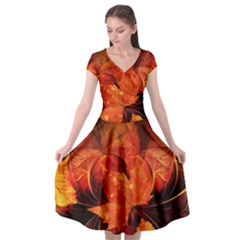 Ablaze With Beautiful Fractal Fall Colors Cap Sleeve Wrap Front Dress by jayaprime