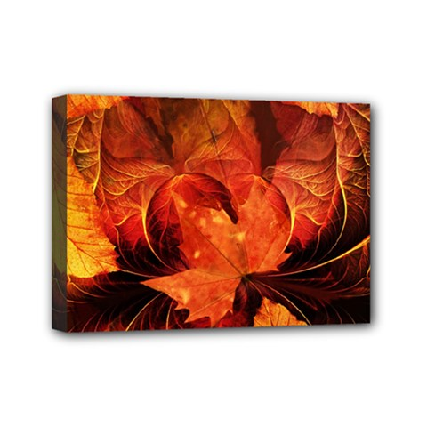 Ablaze With Beautiful Fractal Fall Colors Mini Canvas 7  X 5  by jayaprime
