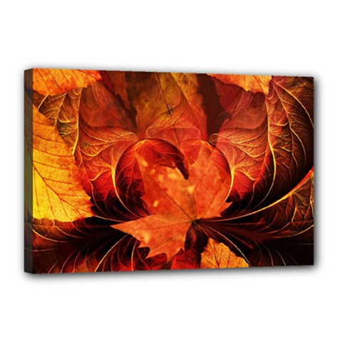Ablaze With Beautiful Fractal Fall Colors Canvas 18  X 12  by jayaprime