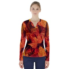 Ablaze With Beautiful Fractal Fall Colors V Neck Long Sleeve Top by jayaprime
