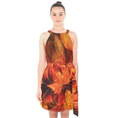 Ablaze With Beautiful Fractal Fall Colors Halter Collar Waist Tie Chiffon Dress by jayaprime