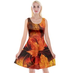 Ablaze With Beautiful Fractal Fall Colors Reversible Velvet Sleeveless Dress by jayaprime