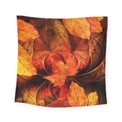Ablaze With Beautiful Fractal Fall Colors Square Tapestry (small) by jayaprime