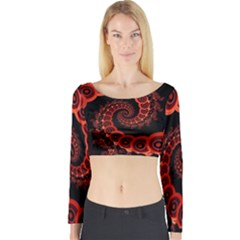 Chinese Lantern Festival For A Red Fractal Octopus Long Sleeve Crop Top by jayaprime