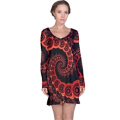 Chinese Lantern Festival For A Red Fractal Octopus Long Sleeve Nightdress by jayaprime