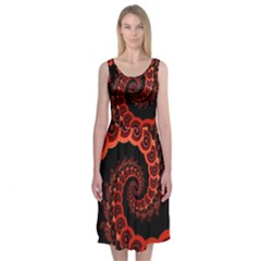 Chinese Lantern Festival For A Red Fractal Octopus Midi Sleeveless Dress by jayaprime