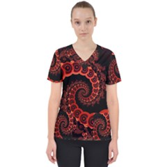 Chinese Lantern Festival For A Red Fractal Octopus Scrub Top by jayaprime