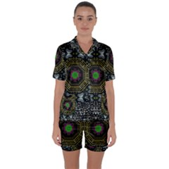 Leaf Earth And Heart Butterflies In The Universe Satin Short Sleeve Pyjamas Set by pepitasart
