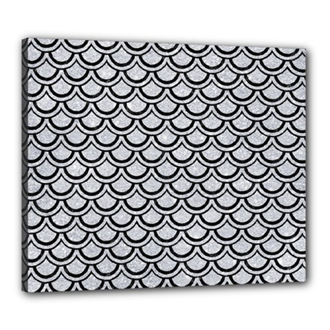 Scales2 Black Marble & Silver Glitter Canvas 24  X 20  by trendistuff