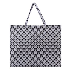 Scales2 Black Marble & Silver Glitter Zipper Large Tote Bag by trendistuff