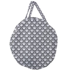 Scales2 Black Marble & Silver Glitter Giant Round Zipper Tote