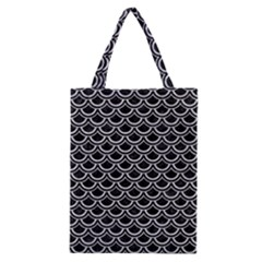 Scales2 Black Marble & Silver Glitter (r) Classic Tote Bag by trendistuff