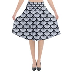Scales3 Black Marble & Silver Glitter Flared Midi Skirt