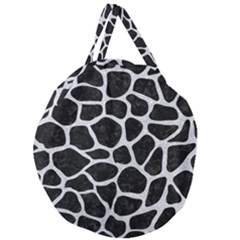 Skin1 Black Marble & Silver Glitter Giant Round Zipper Tote