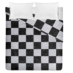 Square1 Black Marble & Silver Glitter Duvet Cover Double Side (queen Size)