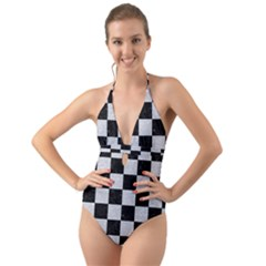 Square1 Black Marble & Silver Glitter Halter Cut Out One Piece Swimsuit