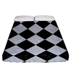Square2 Black Marble & Silver Glitter Fitted Sheet (queen Size) by trendistuff