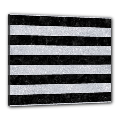 Stripes2 Black Marble & Silver Glitter Canvas 24  X 20  by trendistuff