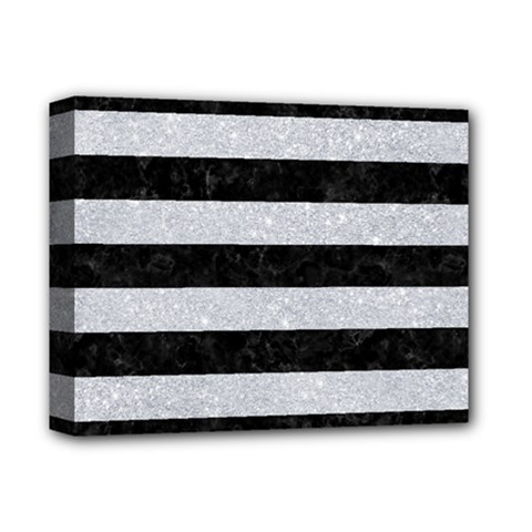 Stripes2 Black Marble & Silver Glitter Deluxe Canvas 14  X 11  by trendistuff