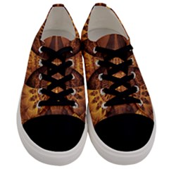 Beautiful Gold And Brown Honeycomb Fractal Beehive Men s Low Top Canvas Sneakers