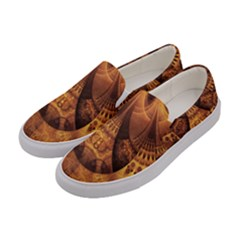 Beautiful Gold And Brown Honeycomb Fractal Beehive Women s Canvas Slip Ons by jayaprime