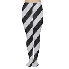 Stripes3 Black Marble & Silver Glitter (r) Women s Tights by trendistuff