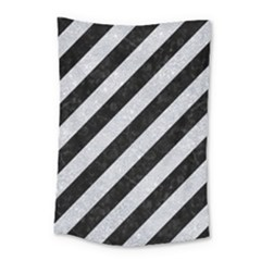 Stripes3 Black Marble & Silver Glitter (r) Small Tapestry by trendistuff