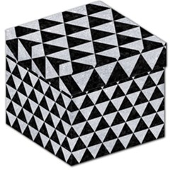 Triangle3 Black Marble & Silver Glitter Storage Stool 12   by trendistuff