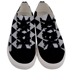 Triangle3 Black Marble & Silver Glitter Men s Low Top Canvas Sneakers
