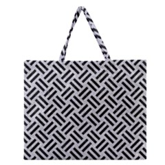 Woven2 Black Marble & Silver Glitter Zipper Large Tote Bag by trendistuff
