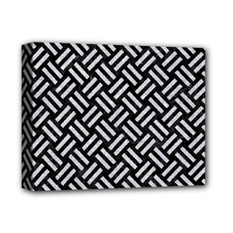 Woven2 Black Marble & Silver Glitter (r) Deluxe Canvas 14  X 11  by trendistuff