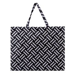 Woven2 Black Marble & Silver Glitter (r) Zipper Large Tote Bag by trendistuff