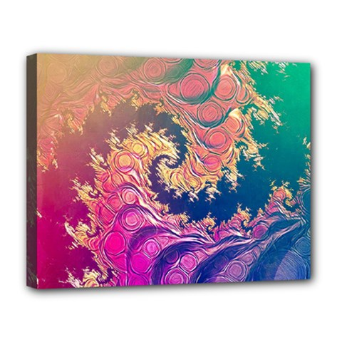 Rainbow Octopus Tentacles In A Fractal Spiral Canvas 14  X 11  by jayaprime