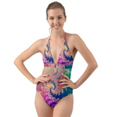 Rainbow Octopus Tentacles In A Fractal Spiral Halter Cut-out One Piece Swimsuit