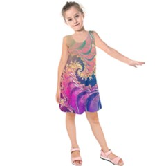 Rainbow Octopus Tentacles In A Fractal Spiral Kids  Sleeveless Dress by jayaprime