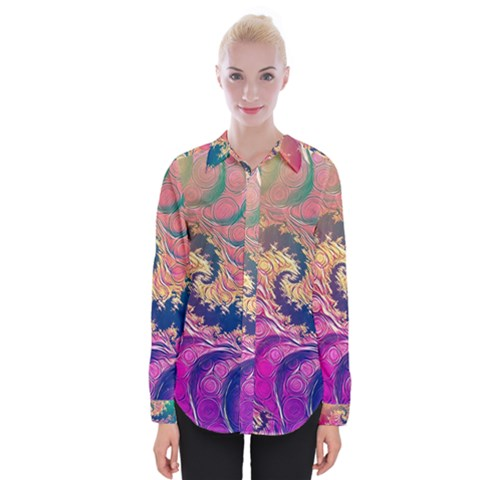 Rainbow Octopus Tentacles In A Fractal Spiral Womens Long Sleeve Shirt by jayaprime