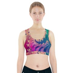 Rainbow Octopus Tentacles In A Fractal Spiral Sports Bra With Pocket by jayaprime