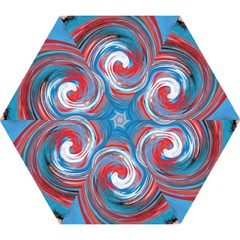 Red And Blue Rounds Mini Folding Umbrellas by berwies