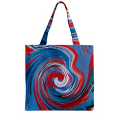 Red And Blue Rounds Grocery Tote Bag by berwies