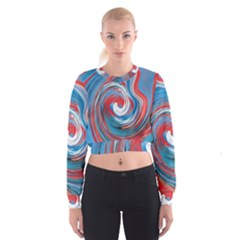 Red And Blue Rounds Cropped Sweatshirt by berwies