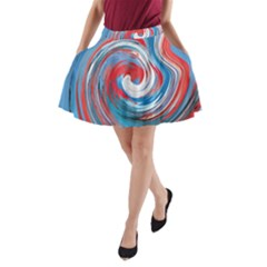 Red And Blue Rounds A Line Pocket Skirt by berwies