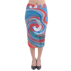 Red And Blue Rounds Midi Pencil Skirt by berwies